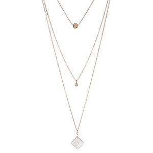 "Dainty gold tone, triple layer necklace with a pale pink stone pendant. Approximately 18"" in length."