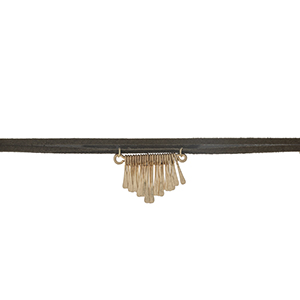 """Olive green wrap choker with gold tone fringe details. Approximately 12"""" in length."""