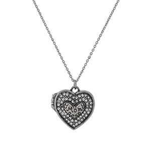 "Silver tone necklace with a working locket, stamped with ""Mom"" and accented with clear rhinestones. Approximately 16"" in length."