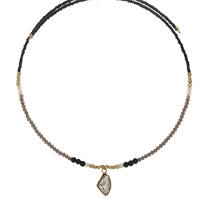 Black and gray beaded memory wire choker with gold tone accents and a clear rhinestone pendant. Choker does not close, so it can fit up to almost any size.