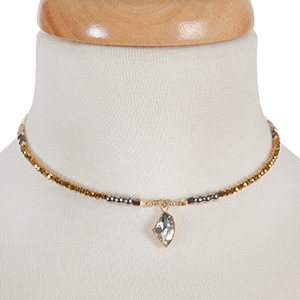 Bronze and gray beaded memory wire choker with gold tone accents and a clear rhinestone pendant. Choker does not close, so it can fit up to almost any size.