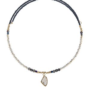 Gray iridescent and navy beaded memory wire choker with gold tone accents and a clear rhinestone pendant. Choker does not close, so it can fit up to almost any size.