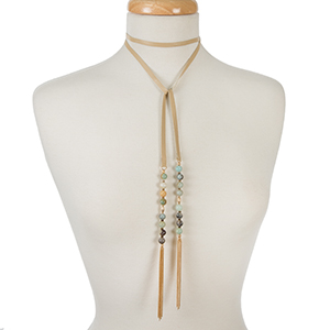 "Tan leather wrap necklace with amazonite beads and chain tassels. Approximately 52"" in length."