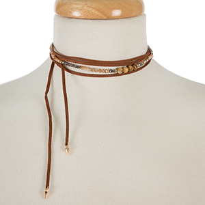 """Brown faux suede wrap necklace with picture jasper semi-precious and iridescent beads and an asymmetrical length. Approximately 60"""" in length."""