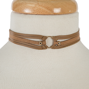 "Brown faux leather choker with a gold tone circle focal. Approximately 12"" in length."