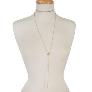 "Gray faux leather and gold tone layered lariat choker. Approximately 12"" in length."