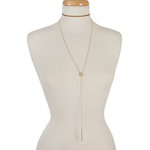 "Brown faux leather and gold tone layered lariat choker. Approximately 12"" in length."