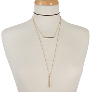 "Brown faux leather and gold tone layered choker with bar pendants. Approximately 12"" in length."