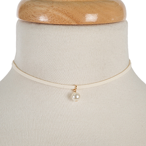 """Ivory faux suede choker with a pearl bead pendant. Approximately 12"""" in length."""
