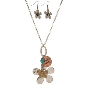 "Silver tone necklace set with a tri-tone flower pendant, stamped with ""Wild Spirit"" and matching fishhook earrings. Approximately 27"" in length."