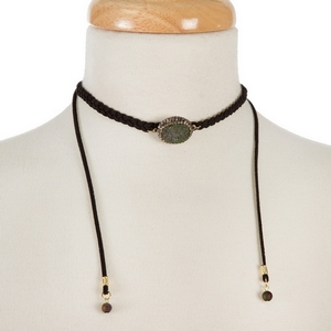"""Black braided cord choker with a bronze druzy stone focal. Adjustable up to 27"""" in length. Handmade in the USA."""