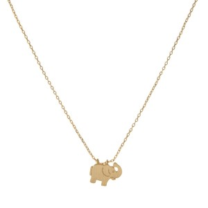 "Dainty gold necklace with an elephant pendant. Approximately 14"" in length."