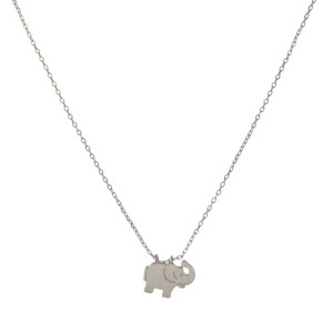 "Dainty silver necklace with an elephant pendant. Approximately 14"" in length."