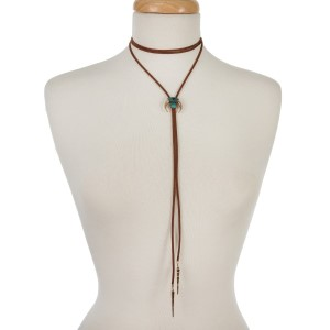 """Brown faux suede, wrap, bolero necklace with gold tone and turquoise accents. Approximately 62"""" in length."""
