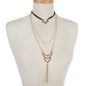 """Gold tone and black faux suede layered choker with matching stud earrings. Approximately 14"""" to 27"""" in length."""