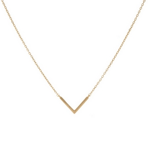 """Dainty gold tone necklace featuring a small geometric pendant shaped in a 'V'. Length adjusts from 16""""-18""""."""