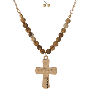 "Gold tone necklace set displaying a cross pendant, stamped with ""Grace"" and accented with picture jasper natural stone beads. Approximately 16"" in length."