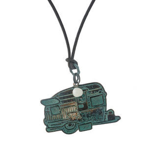 "Brown genuine leather cord necklace with a patina ""Happy Camper"" pendant. Approximately 27"" in length."