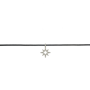 """Black waxed cord choker with a silver tone star pendant. Approximately 12"""" in length."""