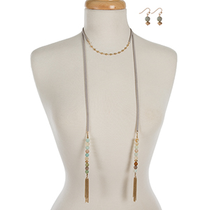 """Faux gray suede choker and wrap necklace displaying amazonite natural stone beads and gold tone tassels. Approximately 12"""" and 40"""" in length."""
