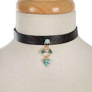 """Black faux leather choker with a turquoise and gold tone focal. Approximately 12"""" in length."""