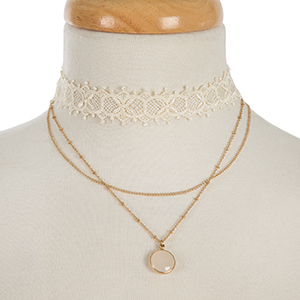 "Ivory lace and gold tone layered choker with an ivory stone pendant. Approximately 12"" and 13"" in length."
