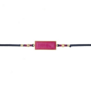 """Navy faux leather choker featuring a hot pink stone focal and gold tone and pink thread accents. Approximately 12"""" in length."""