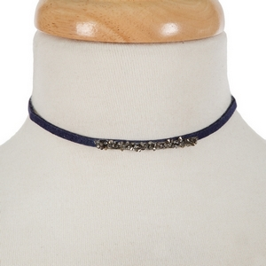 "Navy blue faux suede choker with hematite and gray stones. Approximately 12"" in length."