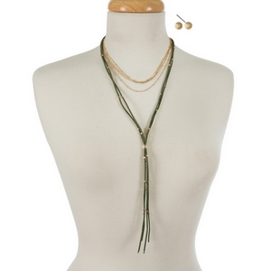 """Gold tone and olive faux suede layered choker  with matching stud earrings. Approximately 12"""" and 24"""" in length."""