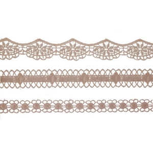 """Three piece, blush pink, crocheted choker set. All chokers are approximately 12"""" in length."""