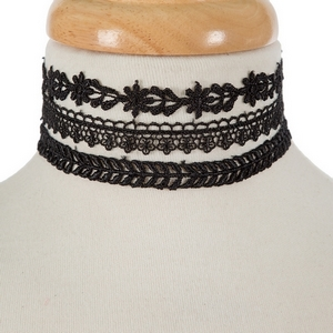"""Three piece, black, crocheted choker set. All chokers are approximately 12"""" in length."""