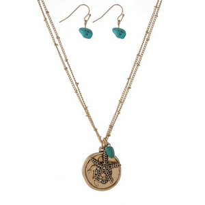 "Gold tone necklace set featuring a double sided circle pendant displaying a turtle on one side and ""May you always have a shell in your pocket & sand between your toes"" stamped on the other side. Approximately 16"" in length."