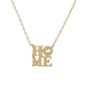 "Gold tone necklace displaying a ""HOME"" pendant with the state shape of Kentucky in the 'O' of the pendant. Approximately 16"" in length."
