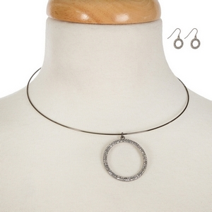 """Hematite tone memory wire choker set displaying a silver tone pave circle. Approximately 6"""" in width with a 3"""" extender."""