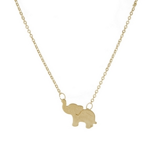 "Dainty gold tone necklace with an elephant pendant. Approximately 16"" in length."
