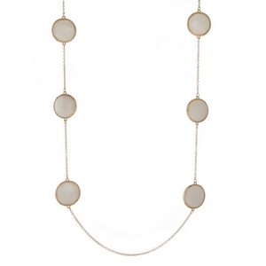 """Gold tone necklace displaying double sided, mother of pearl, circle stationaries. Approximately 32"""" in length."""
