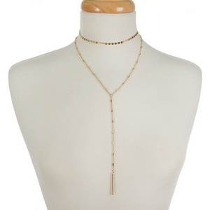 """Dainty gold tone two layer necklace with a choker and a 'Y' layer. Approximately 12"""" and 18"""" in length."""
