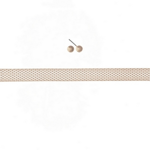 """Rose gold tone mesh metal choker with stud earrings. Approximately 12"""" in length."""