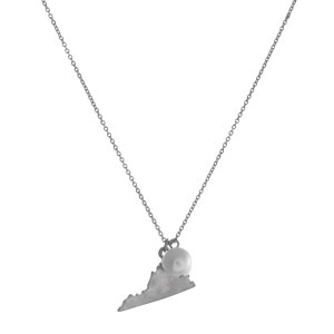 "Dainty silver tone necklace with a state of Virginia pendant and a freshwater pearl accent. Approximately 16"" in length."