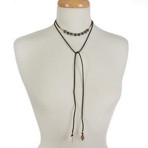 """Black faux suede wrap choker featuring labradorite beads. Approximately 12"""" in length."""