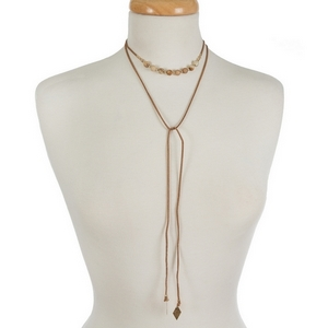 """Brown faux suede wrap choker featuring picture jasper beads. Approximately 12"""" in length."""