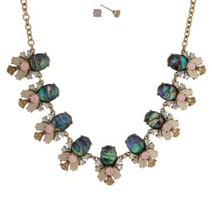 """Gold tone necklace set with abalone stones, accented with pink and ivory rhinestones and matching stud earrings. Approximately 16"""" in length."""