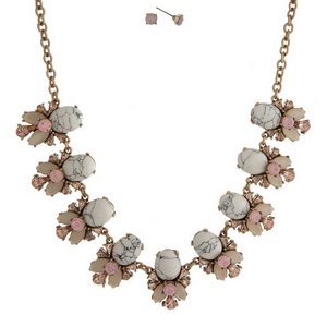 """Gold tone necklace set with howlite stones, accented with pink and ivory rhinestones and matching stud earrings. Approximately 16"""" in length."""