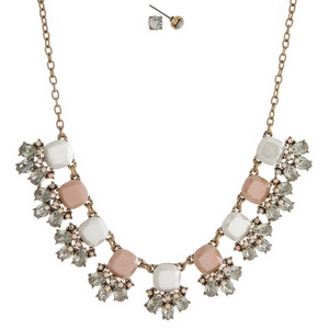 """Gold tone necklace set with blush pink and white stones accented with clear rhinestones and matching stud earrings. Approximately 16"""" in length."""