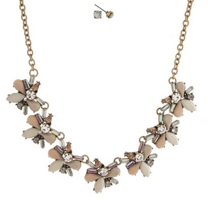 """Gold tone necklace set with blush, ivory, gray and clear stones and matching stud earrings. Approximately 16"""" in length."""