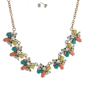 """Gold tone necklace set with turquoise, peach, yellow and clear stones and matching stud earrings. Approximately 16"""" in length."""