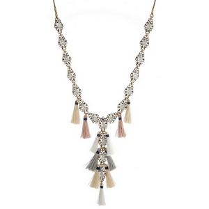 """Burnished gold tone 'Y' necklace with opal rhinestones and gray, white and blush tassels. Adjustable from 16"""" to 32"""" in length."""