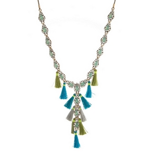 """Burnished gold tone 'Y' necklace with mint green rhinestones and gray, turquoise and green tassels. Adjustable from 16"""" to 32"""" in length."""