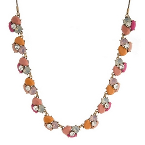 """Burnished gold tone necklace with peach, pink and opal stones and rhinestones. Adjustable from 12"""" to 32"""" in length."""