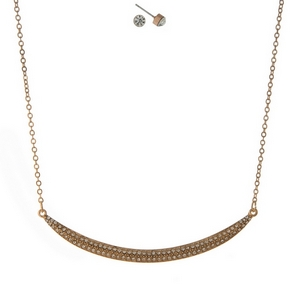 """Gold tone necklace set featuring a curved bar pendant, accented with clear rhinestones. Approximately 16"""" in length."""